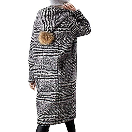 Plus Size Winter Lattice Warm Thickening Woolen Cloth Overcoat(3XL,Black ()