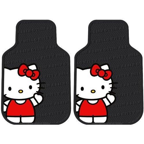 Front Seat Rubber Car Truck SUV Floor Mats - Rubber - Hello Kitty Sanrio Waving
