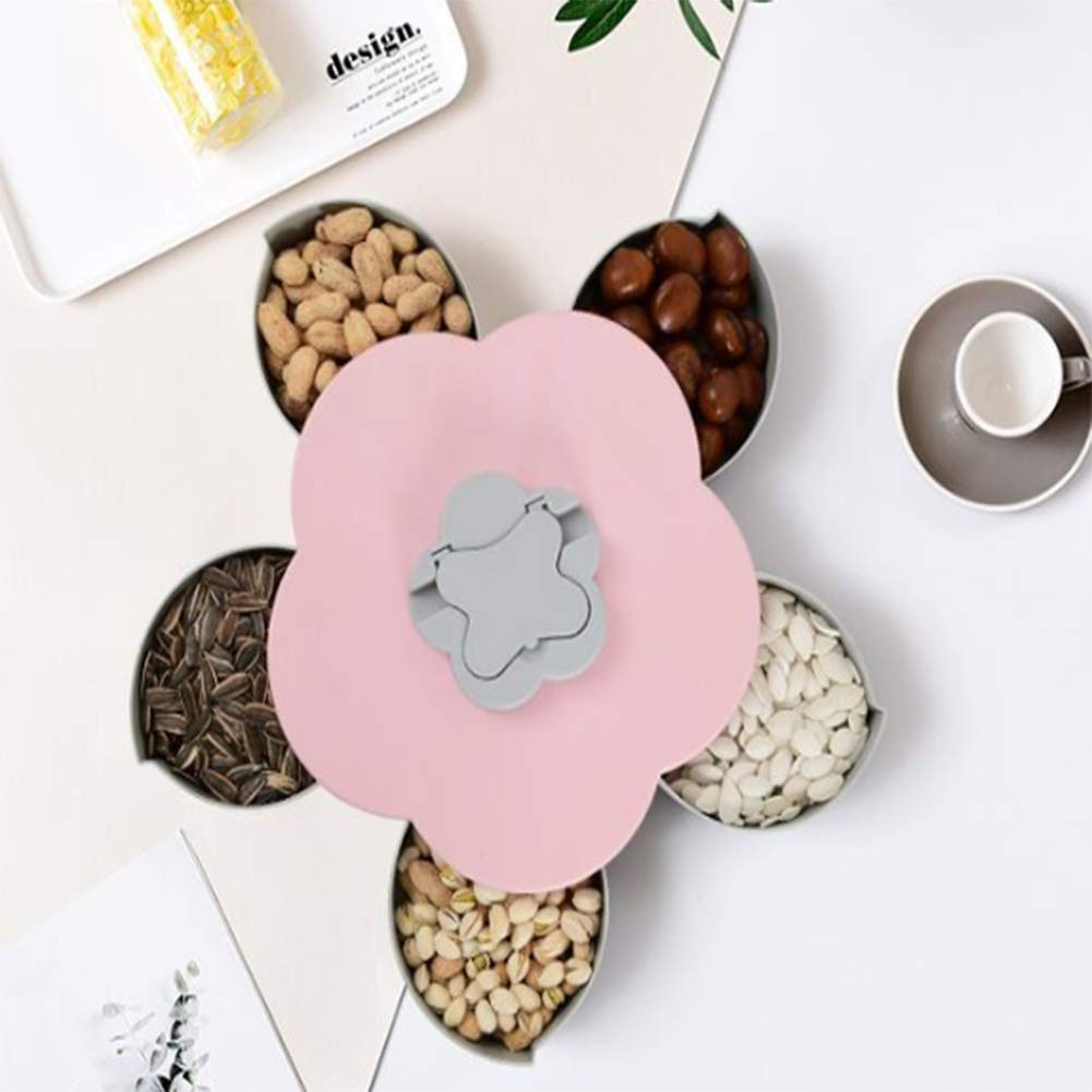 Merry Angel Creative Rotating Snacks Fruit Plate Candy Dispenser Plastic Bowl Household Flowers Shape Dried Fruit Tray Blue