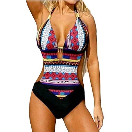 NEWONESUN-Swimwear One Piece Swimwear,NEWONESU Women Newest Bra Bikini Printed Bohemia Swimsuit (Large, Hot Pink)