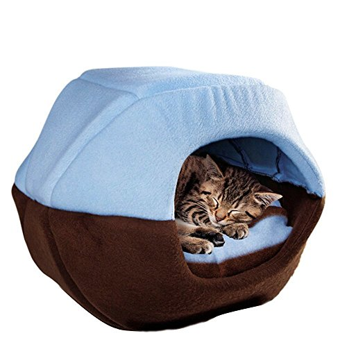 Cat Dog Soft Pet Bed Cute Cave Bed Lovely Warm Pet House Tent with Removable Cushion Mat inside