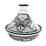 Le Souk Ceramique Cookable Tagine, Black and White Sabrine Design