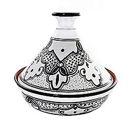 Le Souk Ceramique Cookable Tagine, 12-Inch, Black and White Sabrine Design