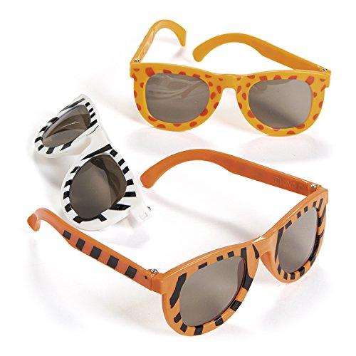Adorox Safari Jungle Zoo Animal Print Sunglasses Party Favors (Zebra, Giraffe, Tiger) (1 - Zoo Print Animal Sunglasses