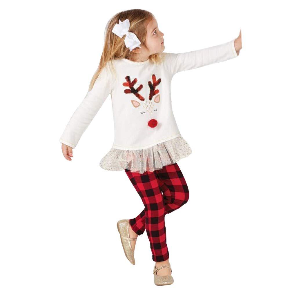 Sikye Toddler Kids Baby Girl Clothes Christmas Reindeer Print Long Sleeve T Shirt Top and Plaid Pant 2Pcs Set