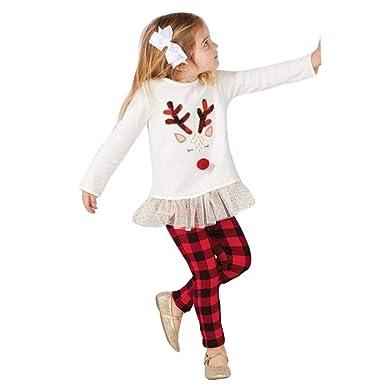 000cedf3c8dc4 Kolylong 2018 Noël 2pcs vêtements Ensemble bébé Enfants Filles hvier Pull  Top Wapiti de Noël imprimée + Pantalons à Carreaux Pyjama ...