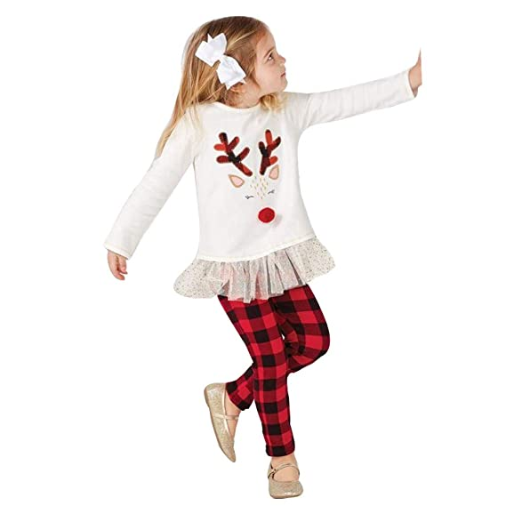 8410758c8e8cd Sikye Toddler Kids Baby Girl Clothes Christmas Reindeer Print Long Sleeve T  Shirt Top and Plaid Pant 2Pcs Set