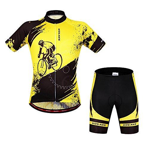 WOSAWE Mens Breathable Cycling Jersey Short Sleeves (Biker Suit, (Bicycle Riding Suit)
