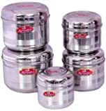 Aristo Stainless Steel Storage Designer Steel Containers, 550 To 1600Ml, 5 Pieces, Silver