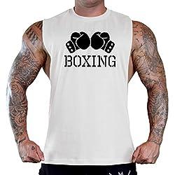 Men's Boxing Gloves V434 White Gym T-Shirt Tank Top Large White