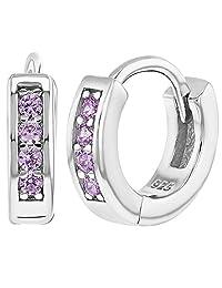 "925 Sterling Silver CZ Small Hoop Earrings for Girls 0.39"""