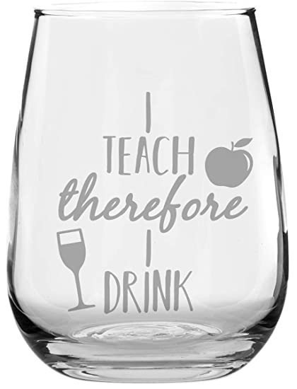 44e12f89cf8 Image Unavailable. Image not available for. Color: Funny Stemless Wine Glass  - I Teach ...