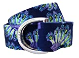 kids d ring belt - No27 Womans Navy Peacock Feather Pattern Fabric Belt, D-Ring Belt, Womans and Girls Peacock Feather Belt