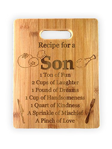 Recipe for a Daughter or Son Cute Funny Laser Engraved Bamboo Cutting Board - Wedding, Housewarming, Anniversary, Birthday, Mother's Day, Gift (Son)