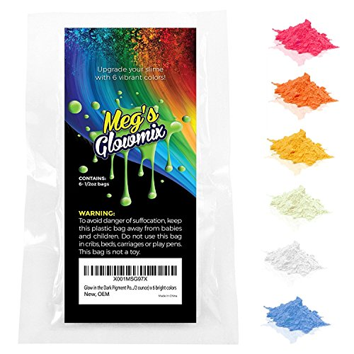 Meg's Glowmix - GLOW IN THE DARK PIGMENT POWDER FOR SLIME: NO FOOD COLORING NEEDED - 3.2 ounces (0.53oz/color) - 6 Pack - Slime Supplies set; add powder to clear glue, epoxy, resin, or nail polish. by Meg's Glowmix