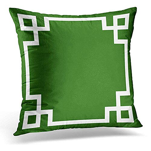 Throw Pillow Cover Squares Emerald Green and White Greek Key Chic Decorative Pillow Case Home Decor Square 18x18 Inches ()