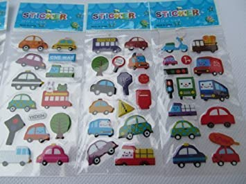 5 x small sheets of cars bus traffic lorry van stickers for