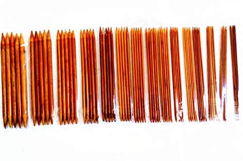 CJESLNA 15sizes 6inch(15cm) Carbonized Bamboo Double Pointed Knitting Needle ()