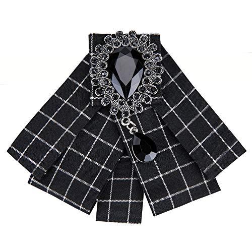 Check Tie Designer Bow Tie Collar Pre-Tied Women Ribbon Rhinestone Necktie Wedding Party