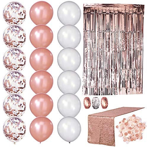 Rose Gold Party Decorations All-in-One Kit|18 inch Rose Gold Balloons, Rose Gold Confetti Balloons, Silver Balloons|Rose Gold Table Runner|Rose Gold Tinsel Curtain|Table Confetti|