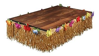 Luau Table Skirt - Hawaiian Hibiscus Grass Table Skirt, Tropical Beach Party Decoration for Birthday, Wedding, Pool Party, 24 Feet