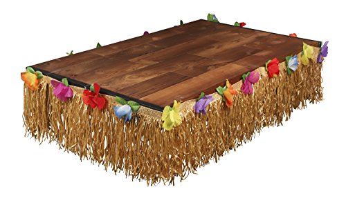 Luau Table Skirt - Hawaiian Hibiscus Grass Table Skirt, Tropical Beach Party Decoration for Birthday, Wedding, Pool Party,  24 Feet -