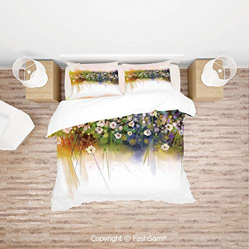 FashSam Duvet Cover 4 Pcs Comforter Cover Set Vogue Display Wisteria Violets Wreath Fragrant Plants Herbs Artsy for Boys Grils - Comforter Wisteria King