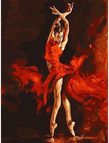 Kofun DIY pintura al ¨®leo digital sobre lienzo fuego bailarinas Frameless acr¨ªlico Dibujo Decoraci¨®n Regalo 40?X 50?Cm/15,75?x 19,69?