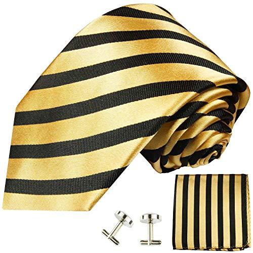 Paul Malone Necktie, Pocket Square and Cufflinks 100% Silk Gold Black Stripes (White Gold Genuine Cufflinks)