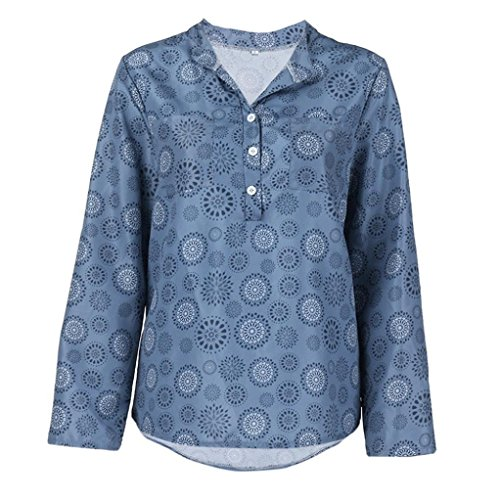iDWZA Women Plus Size Print Long Sleeve Polka Dot Button Blouse Pullover Tops Shirt (Blue, XXXL) - Electric Blue Cowl Neck