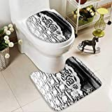 Analisahome U-Shaped Toilet Mat detail of an islamic door knocker and ornaments outside one of 2 Pieces Microfiber Soft