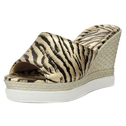 Mules TAOFFEN Gold Sandals Platform Women Fashion 6rwtr8xg