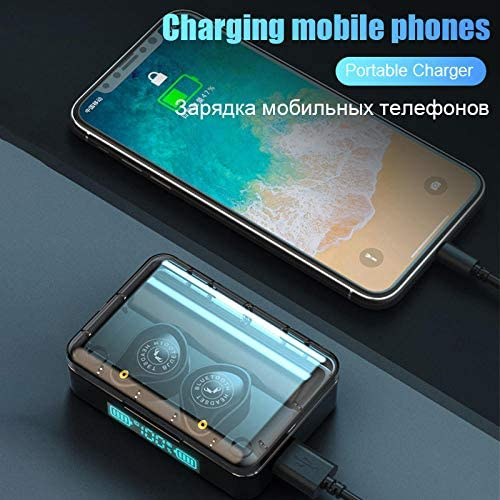 Bluetooth hoofdtelefoon TWS Bluetooth 5.0 hoofdtelefoon draadloze subwoofer-hoofdtelefoon IPx7 waterdichte sporthoofdtelefoon met touch-bediening, zwart