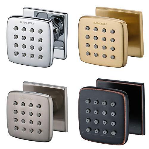 RANDOM Shower Spa Brass Square Massage Body Jets Spray Body Shower Set,Brushed Nickel,Chrome,Oil Rubbed Bronze,Brushed Gold. (Bushed Nickel 1 pcs) ()