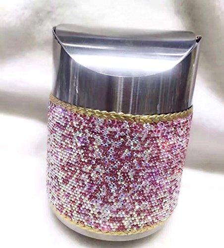 TISHAA Mini Makeup Table Trash Can Wastebasket Bathroom for Vanity Countertops (Pink Trash (Bling Garbage Can)