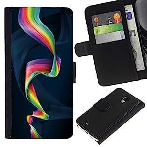 Planetar® Modelo colorido cuero carpeta tirón caso cubierta piel Holster Funda protección Para Samsung Galaxy S4 Mini i9190 / i9195 (Not For S4) ( Colorful Spiral )
