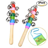 TSLIKANDO 2 Pack Rattle Rock Maracas Educational Musical Instruments for Kids Percussion Toy, Free Grid Mesh Backpack