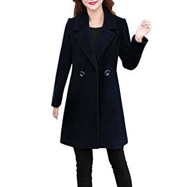 a4b3a70a076 Forthery Women s Trench Coat Winter Long Jacket Double Breasted Overcoat  (Tag M  US S