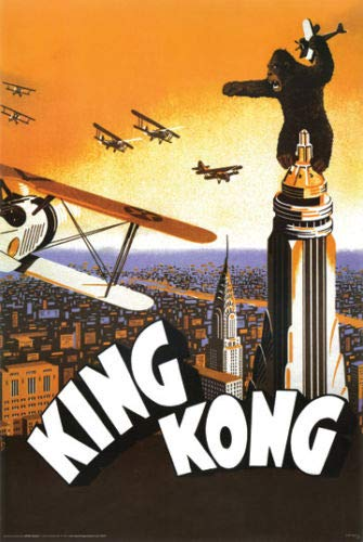 Hotstuff King Kong 1933 Movie Poster Empire State Building Airplanes Vintage Style 24 X36