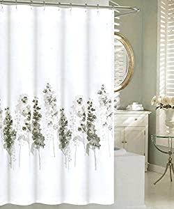 tahari luxury cotton blend shower curtain blooming hollyhock printemps floral branches gray beige grey white botanical nature wildflower