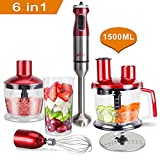 MRQ 6-in-1 800 Watt Immersion Hand Blender Set with 1500ml Food...