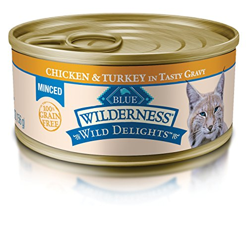 BLUE Wilderness Wild Delights Adult Grain Free Minced Chicken & Turkey in Tasty Gravy Wet Cat Food 5.5-oz (pack of 24)