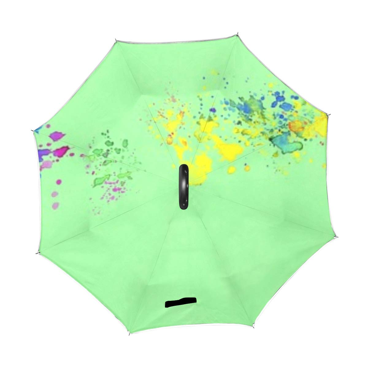 Jnseff Double Layer Inverted Banner Template Green Colorful School Fun Umbrellas Reverse Folding Umbrella Windproof Uv Protection Big Straight Umbrella for Car Rain Outdoor with C-Shaped Handle by Jnseff (Image #2)