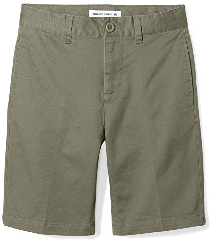 Amazon Essentials Big Boys' Flat Front Uniform Chino Short, Olive Green,7 ()