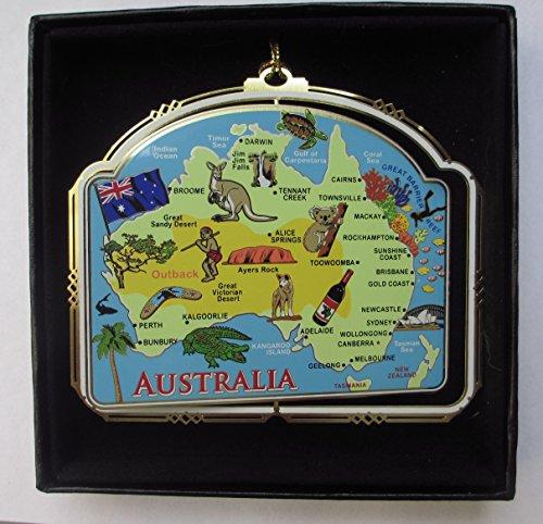 Australia Map Ornament Color Brass Black Leatherette Gift Box