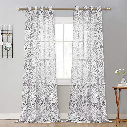 NICETOWN Elegant Leaf Girls Print Sheer Curtains, Faux Linen Voile Textured Diversiform Leaves Pattern Light/Privacy Balance Window Draperies for Home Decor (W52 x L95, Grey Forest Leaves, 2 Panels