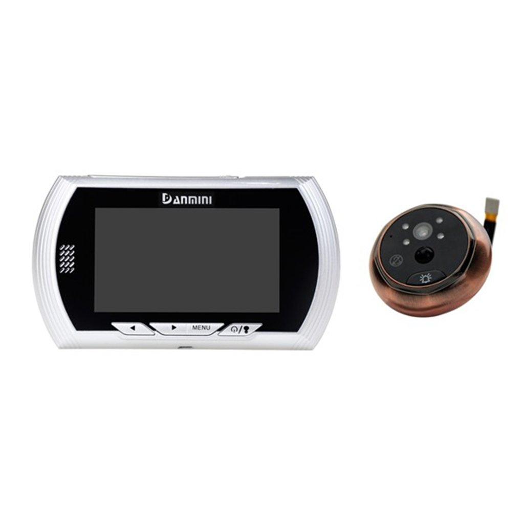B Blesiya 4.3inch TFT Smart Video Doorbell & Door Viewer Rechargeable - Silver