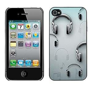 [Neutron-Star] Snap-on Series Teléfono Carcasa Funda Case Caso para iPhone 4 / 4S [Música Gris Dj Sound]