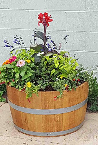 Lacquer Finished Oak Wood Half Wine Barrel, 27'' W x 16'' H by Master Garden Products (Image #2)