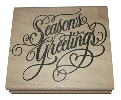 Season's Greetings Rubber Stamp Wood Mounted Stampers Anonymous 3 Inch by 3.5 Inch -